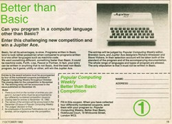 Popular Computing weekly competition to win a Jupiter Ace Week 1